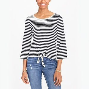 J. Crew Factory Striped Boatneck Tie-Front Sweater